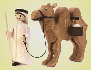 Treiber und Kamel mit Eimer gebeizt 22 cm