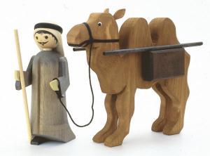 Treiber und Kamel mit Paket gebeizt 22 cm