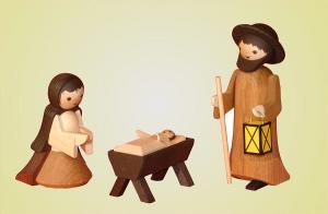 Heilige Familie 3-teilig gebeizt 13 cm