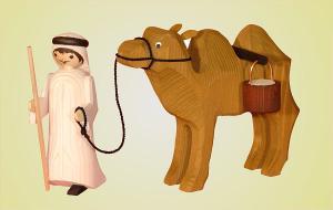 Kameltreiber und Kamel Eimer gebeizt 13 cm