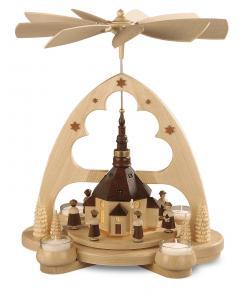 Bogenpyramide Seiffener Kirche natur LED