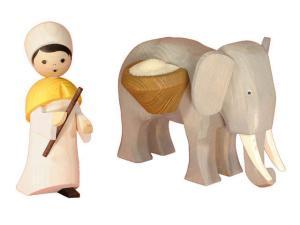 Elefantentreiber 2-teilig 13 cm gebeizt groß Neu 2012