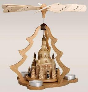 Tischpyramide Dresdner Frauenkirche natur 3 Teel.