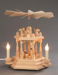 Pyramide natur 1-stöckig Christi Geburt elektrisch beleuchtet