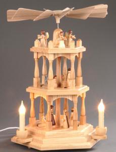 Pyramide natur 2-stöckig Christi Geburt elektrisch beleuchtet