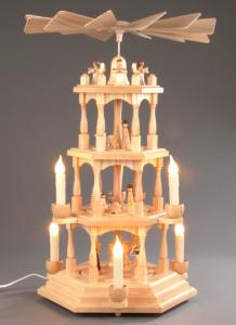 Pyramide natur 3-stöckig Christi Geburt elektrisch beleuchtet