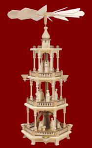 Pyramide 3-stöckig mit Christi Geburt natur