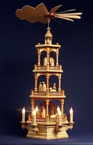 Pyramide3-stöckig mit Christi Geburt natur elektrisch beleuchtet