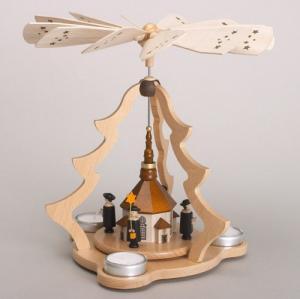 Tischpyramide groß natur mit Seiffener Kirche für 3 Teelichter