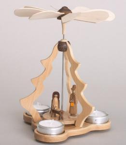Tischpyramide Christi Geburt für 3 Teelichter natur