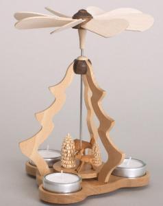 Tischpyramide mit Rehen und Bäumchen für 3 Teelichter natur