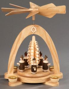 Tischpyramide natur Kurrende mit Mütze und Spanbaum