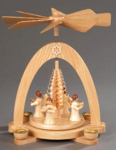 Tischpyramide natur mit 4 Engel und Spanbaum