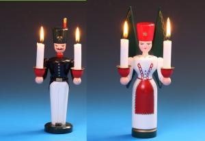 Lichterengel und Lichterbergmann farbig 21 cm