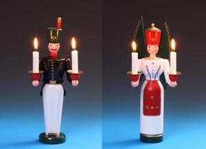 Lichterengel und Lichterbergmann farbig 29 cm