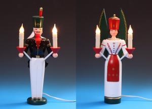 Lichterengel und Lichterbergmann farbig, elektrisch 35 cm