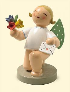 Wendt & Kühn Engel mit Brief und Blumen,kniend