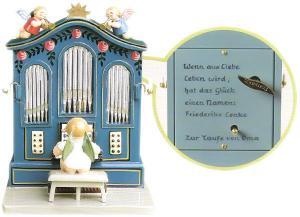 Orgel mit Musikwerk mit 4-zeiliger Widmung