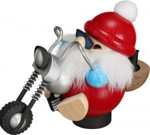 Kugelräucherfigur Nikolaus fährt Motorrad