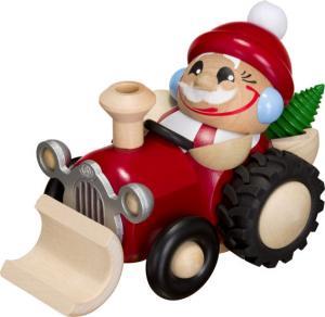 Kugelräucherfigur Nikolaus im Traktor