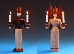 Lichterengel und Lichterbergmann lasiert 36 cm