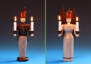 Lichterengel und Lichterbergmann lasiert 21 cm