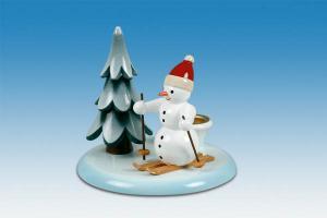 Kerzenhalter Schneemann Skifahrer und Baum