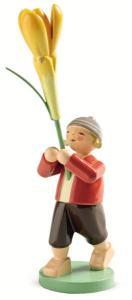 Blumenkind Junge mit Krokus