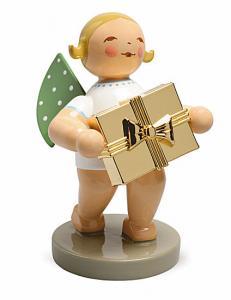 Goldedition Nr.7 Gratulant, Engel mit Geschenk - vergoldet