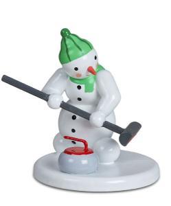 Ellmann Schneemann - Curlingspieler mit Besen