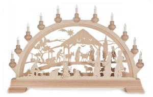 Schwibbogen Christgeburt mit Könige mit Vorbeleuchtung