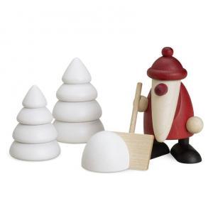 Miniaturset 4 - Weihnachtsmann mit Schneeschippe und 2 Winterbäumen