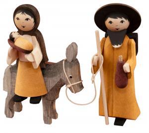 ULMIK Maria und Josef auf Esel, gebeizt NEU 2019