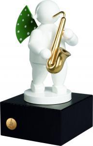 Wendt & Kühn  Engel mit Harmonika auf kleinem Sockel  Klangfarbe Weiß