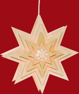 Fensterbild Motiv Stern, beleuchtet