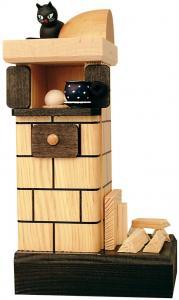 KWO Räucherofen Kachelofen mit Holz natur, rauchend