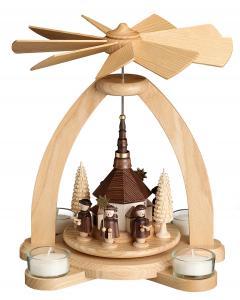 Teelichtpyramide natur Seiffener Kirche mit Kurrende