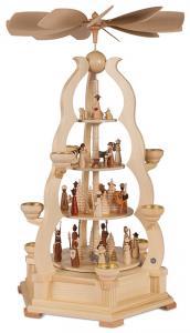 Bogenpyramide 4-stöckig Heilige Geschichte natur, Kombimessingeinsätze