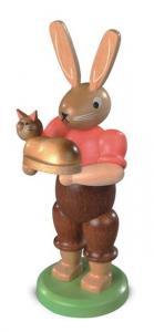 Osterhase mit Katze farbig lasiert, klein