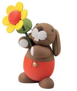 Hase Hugo mit Sonnenblume, Serie Hosen-Hasen