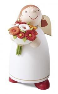 Schutzengel mit Blumenstrauß, weiß