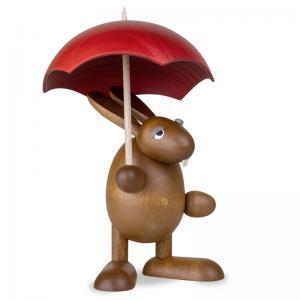 Osterhase mit Schirm, rot