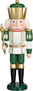 Nussknacker König Exklusiv weiß gold grün, groß